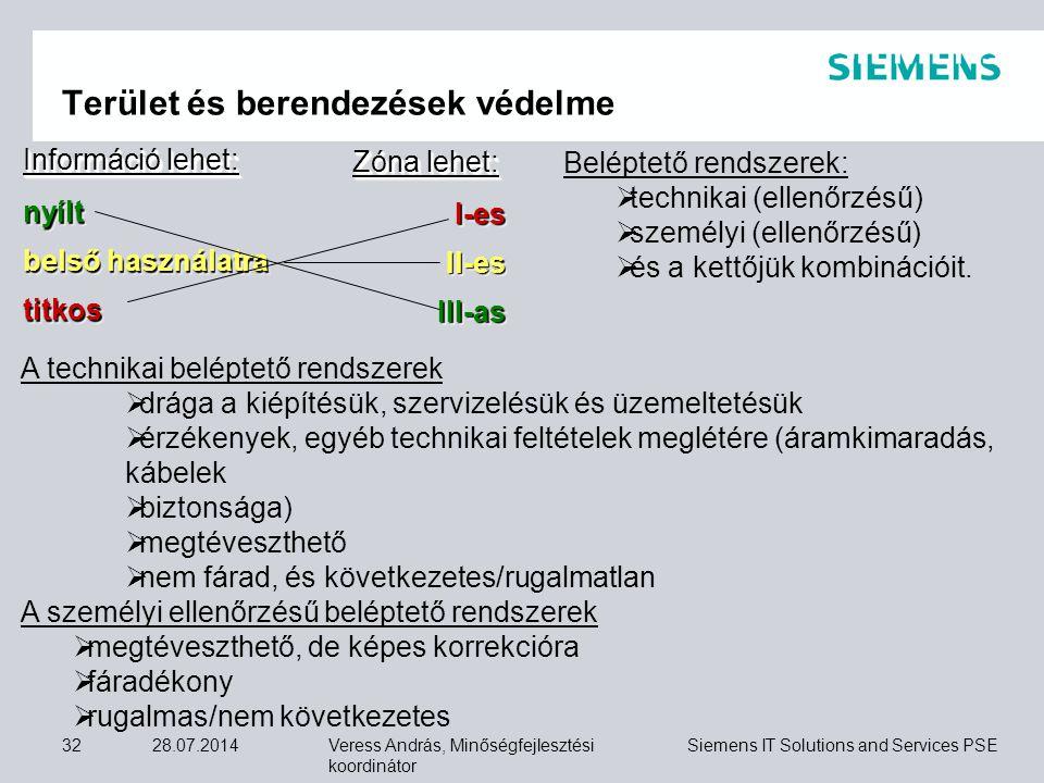 Veress András, Minőségfejlesztési koordinátor Siemens IT Solutions and Services PSE 28.07.201432 Terület és berendezések védelme Információ lehet: nyí