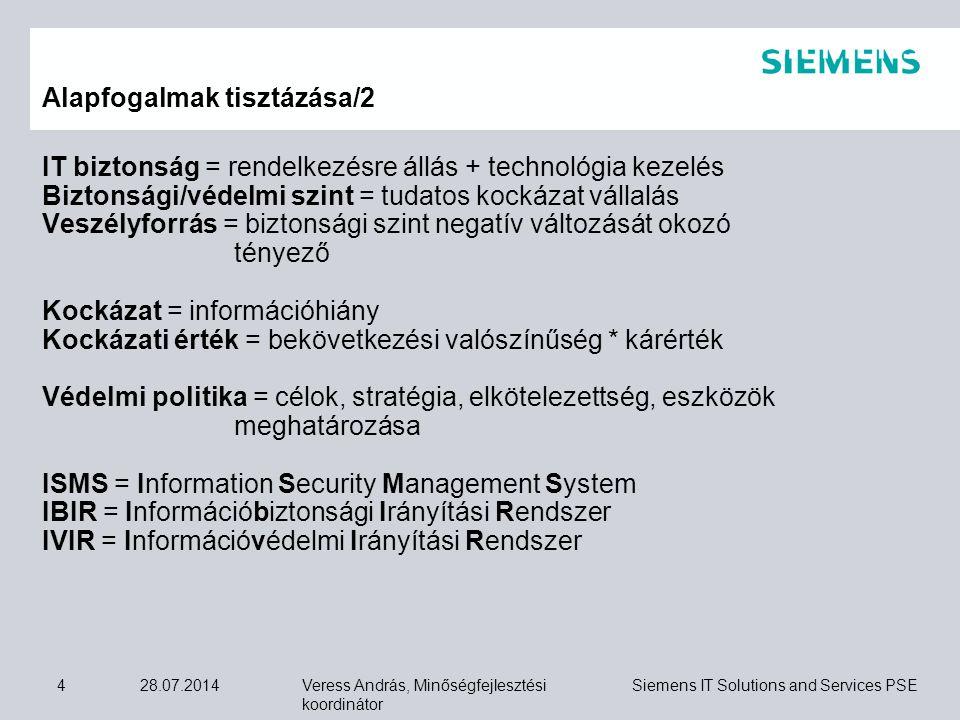 Veress András, Minőségfejlesztési koordinátor Siemens IT Solutions and Services PSE 28.07.201425  az információbiztonsági (vagy információvédelmi) politika,  az ISMS alkalmazhatósági nyilatkozata,  a információbiztonsági (vagy információvédelmi) irányítási kézikönyv,  a kockázat elemzési és kezelési eljárás szabályozása (ez lehet a kézikönyv integrált részei is),  az üzleti folytonossági terv és a katasztrófa utáni visszaállítási terv (BCP = business continuity plan és a DRP = disaster recovery plan),  a szükséges folyamatok eljárási utasításai (ezek lehetnek a kézikönyv integrált részei is),  egyéb szabályok vagy előírások,  a szükséges feljegyzések és bizonylatok formanyomtatványai.