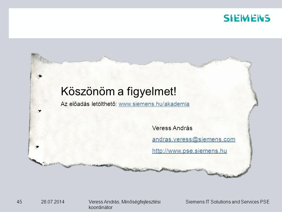 Veress András, Minőségfejlesztési koordinátor Siemens IT Solutions and Services PSE 28.07.201445 Köszönöm a figyelmet! Az előadás letölthető: www.siem