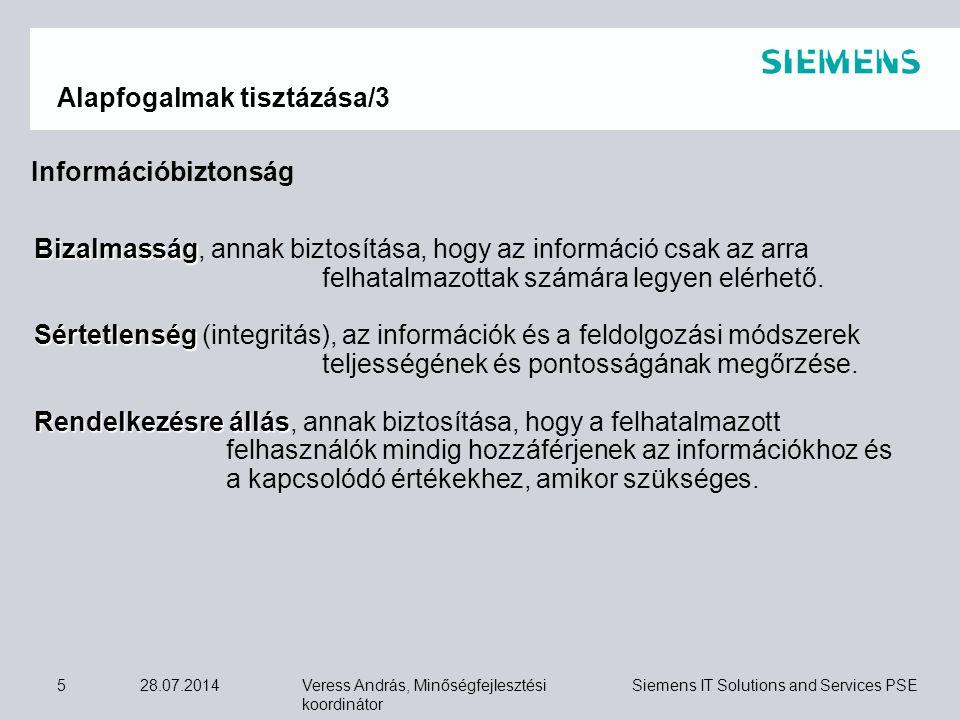 Veress András, Minőségfejlesztési koordinátor Siemens IT Solutions and Services PSE 28.07.20145 Alapfogalmak tisztázása/3 Bizalmasság Bizalmasság, ann