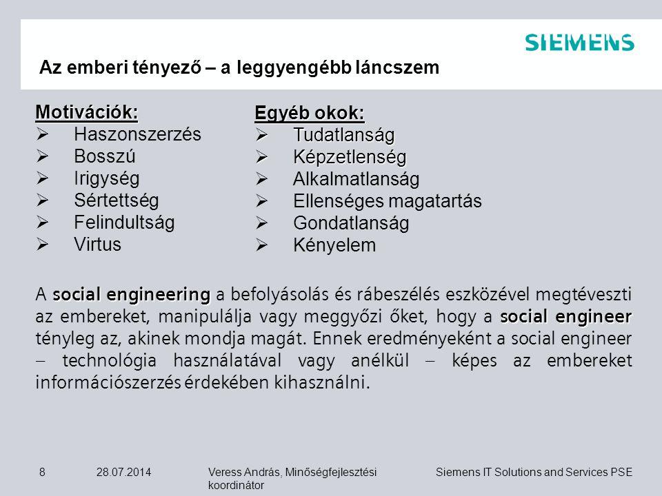Veress András, Minőségfejlesztési koordinátor Siemens IT Solutions and Services PSE 28.07.20149  Tűz, víz, strukturális károsodás,  Szabotázs, lopás,  Robbanás, baleseti károsodás,  Ipari tevékenység,  Hardver, szoftver, hálózati hiba,  Adatvesztés,  Hozzáférés vesztés,  Környezeti berendezés hibája Példák súlyos üzemzavart előidéző okokra