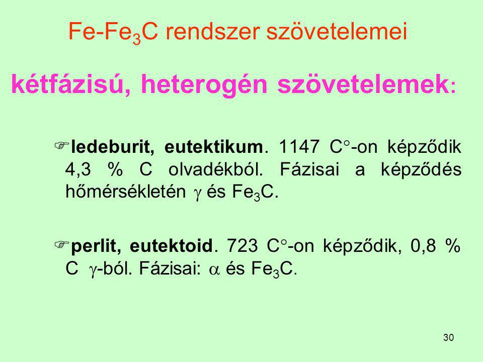 29 Fe-Fe 3 C rendszer szövetelemei Az Fe-Fe 3 C rendszerben egy és kétfázisú szövetelemeket különböztethetünk meg. Ezek:  egyfázisú, homogén szövetel