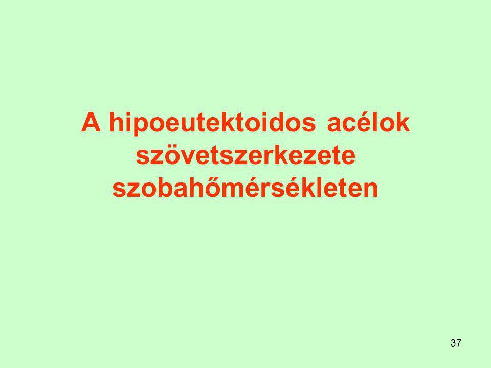 36 Hipoeutektoidos acélok kristályosodása és átalakulása (folyékony állapottól szobahőmérsékletig)