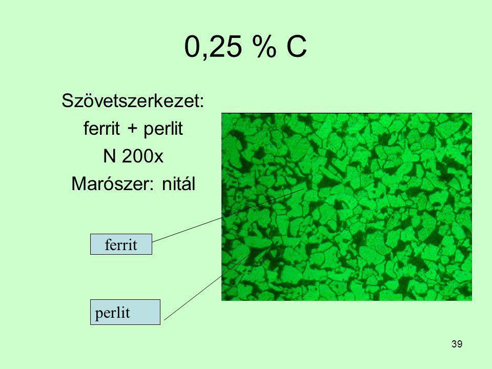 38 0,15 % C Szövetszerkezet: ferrit + perlit N 200x Marószer: nitál (alkoholos salétromsav) ferrit perlit