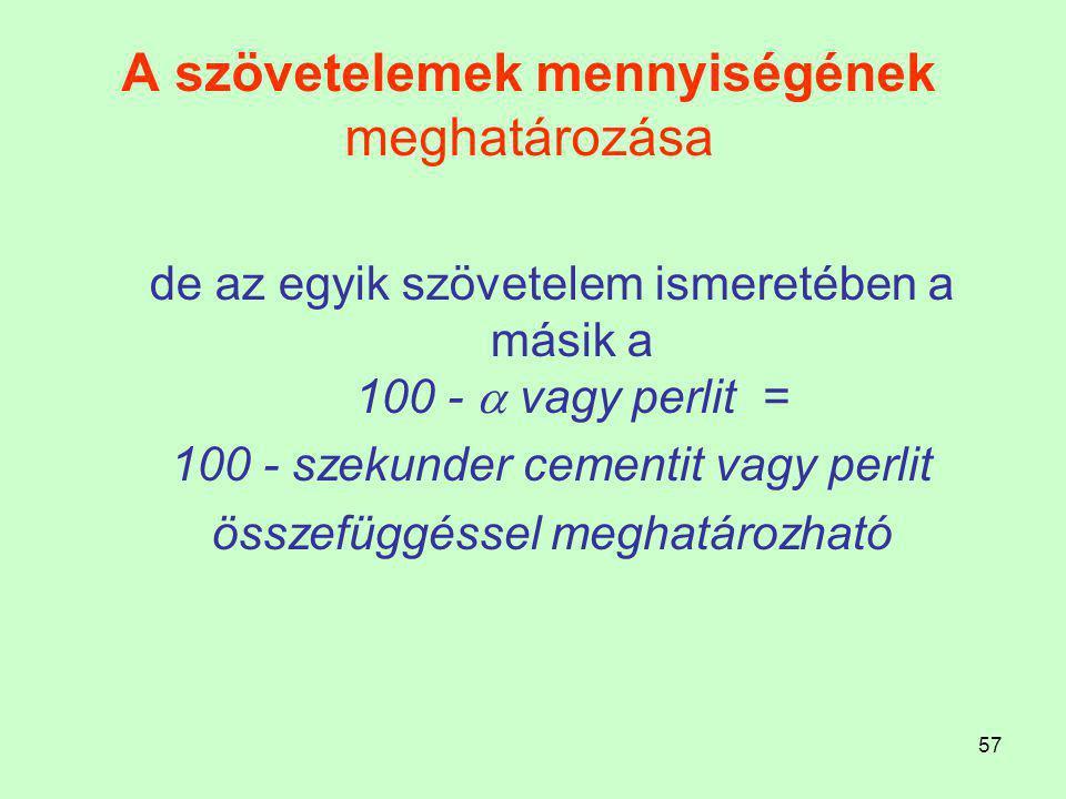 56 A szövetelemek mennyiségének meghatározása 1,0 % C ötvözet 20 C°-on