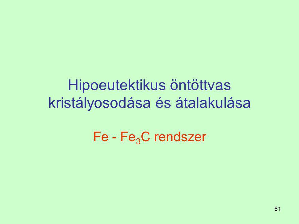 60 Fe-Fe 3 C rendszer A karbidos rendszer szerint kristályosodó öntöttvasakat önálló szerkezeti anyagként nem használják, mivel nagyon kemények, nem a