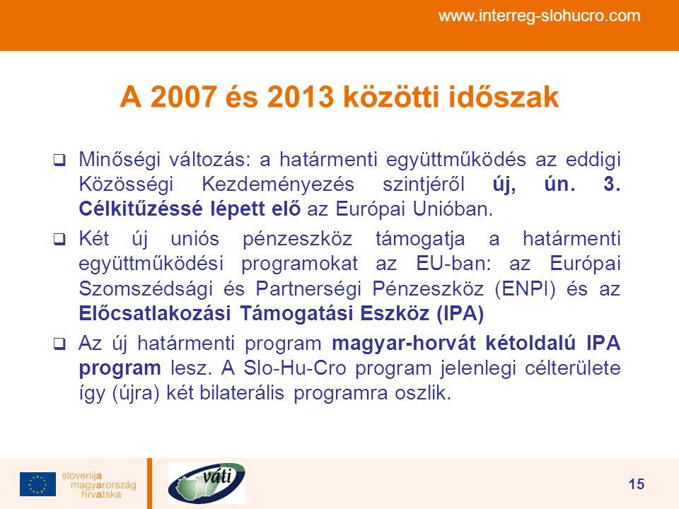 www.interreg-slohucro.com 15 A 2007 és 2013 közötti időszak  Minőségi változás: a határmenti együttműködés az eddigi Közösségi Kezdeményezés szintjér