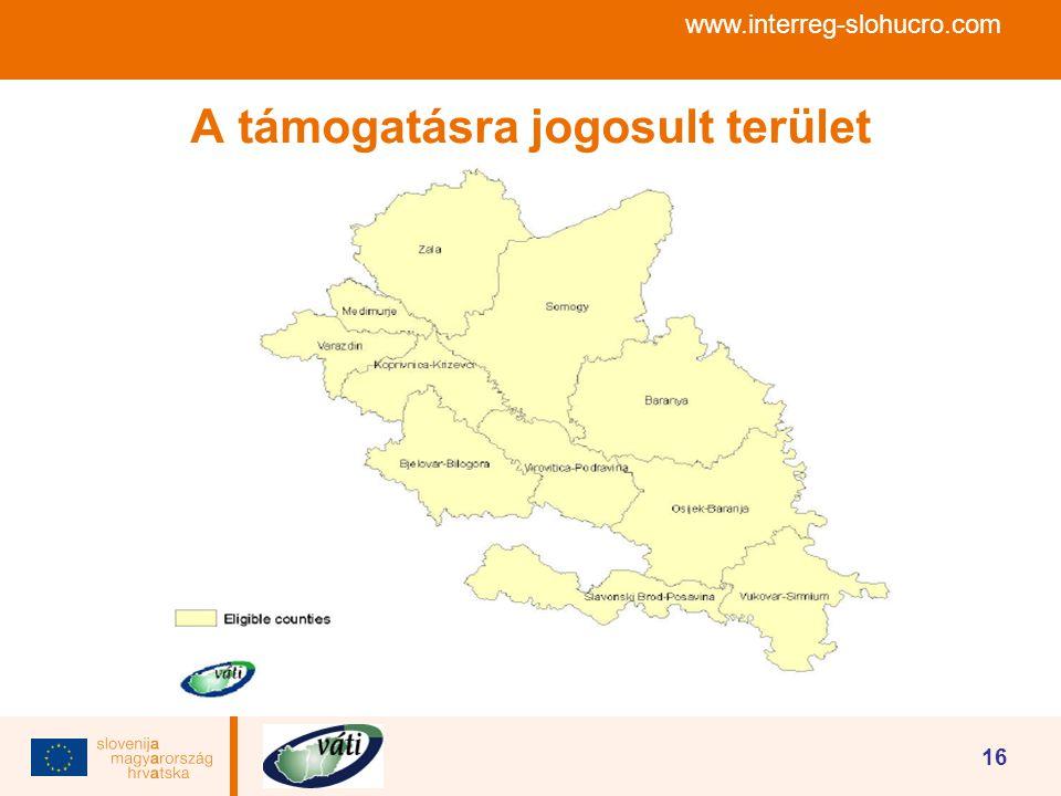 www.interreg-slohucro.com 16 A támogatásra jogosult terület