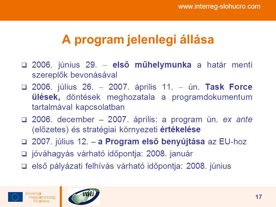 www.interreg-slohucro.com 17 A program jelenlegi állása  2006. június 29.  első műhelymunka a határ menti szereplők bevonásával  2006. július 26. 