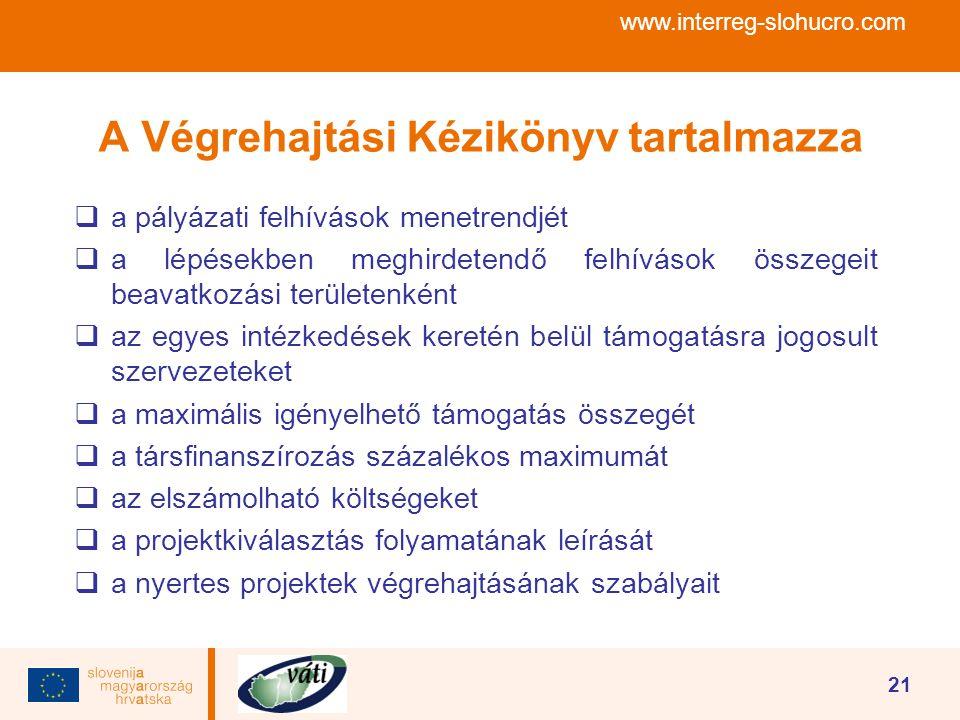 www.interreg-slohucro.com 21 A Végrehajtási Kézikönyv tartalmazza  a pályázati felhívások menetrendjét  a lépésekben meghirdetendő felhívások összeg