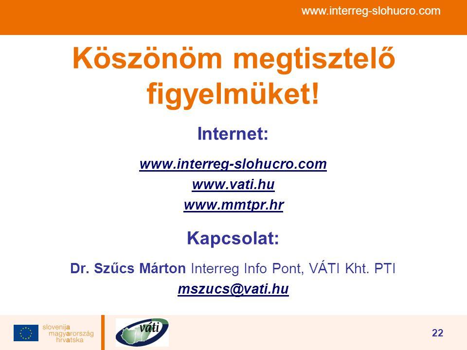 www.interreg-slohucro.com 22 Köszönöm megtisztelő figyelmüket! Internet: www.interreg-slohucro.com www.vati.hu www.mmtpr.hr Kapcsolat: Dr. Szűcs Márto