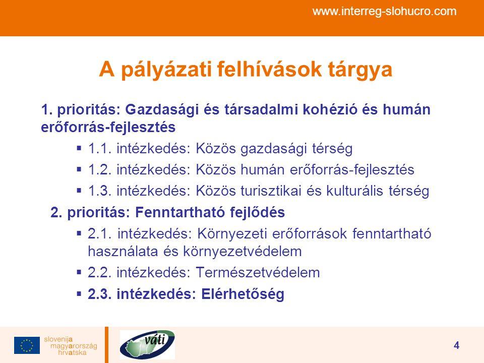 www.interreg-slohucro.com 4 A pályázati felhívások tárgya 1. prioritás: Gazdasági és társadalmi kohézió és humán erőforrás-fejlesztés  1.1. intézkedé