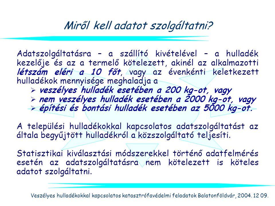 Veszélyes hulladékokkal kapcsolatos katasztrófavédelmi feladatok Balatonföldvár, 2004. 12 09. Miről kell adatot szolgáltatni? Adatszolgáltatásra – a s