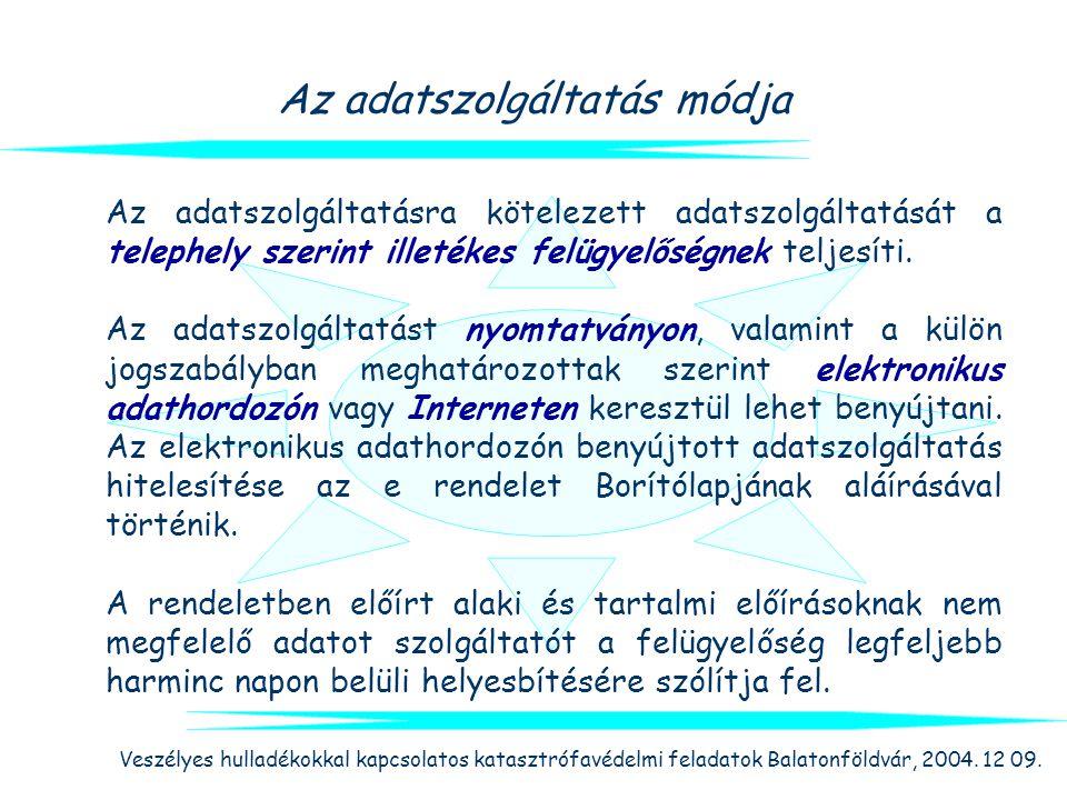 Veszélyes hulladékokkal kapcsolatos katasztrófavédelmi feladatok Balatonföldvár, 2004. 12 09. Az adatszolgáltatás módja Az adatszolgáltatásra köteleze