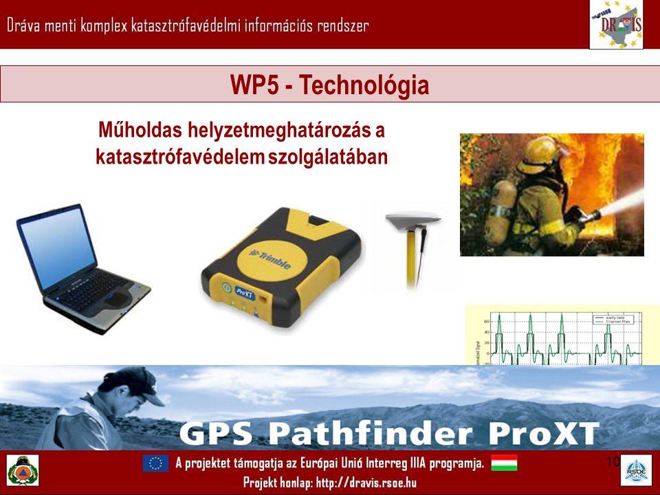 10 Műholdas helyzetmeghatározás a katasztrófavédelem szolgálatában WP5 - Technológia