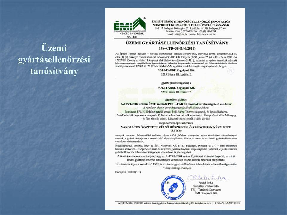 Üzemi gyártásellenőrzési tanúsítvány