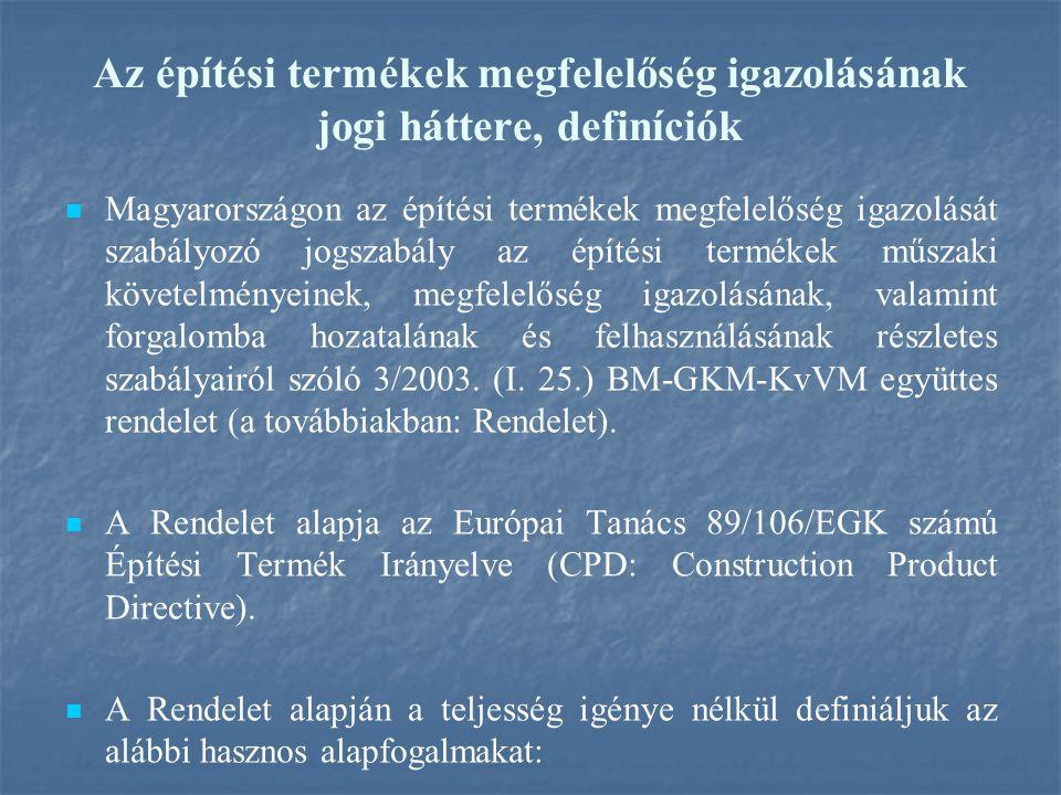 Az építési termékek megfelelőség igazolásának jogi háttere, definíciók Magyarországon az építési termékek megfelelőség igazolását szabályozó jogszabály az építési termékek műszaki követelményeinek, megfelelőség igazolásának, valamint forgalomba hozatalának és felhasználásának részletes szabályairól szóló 3/2003.