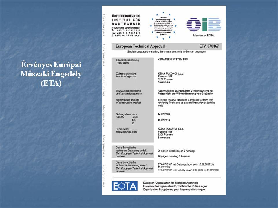 Érvényes Európai Műszaki Engedély (ETA)