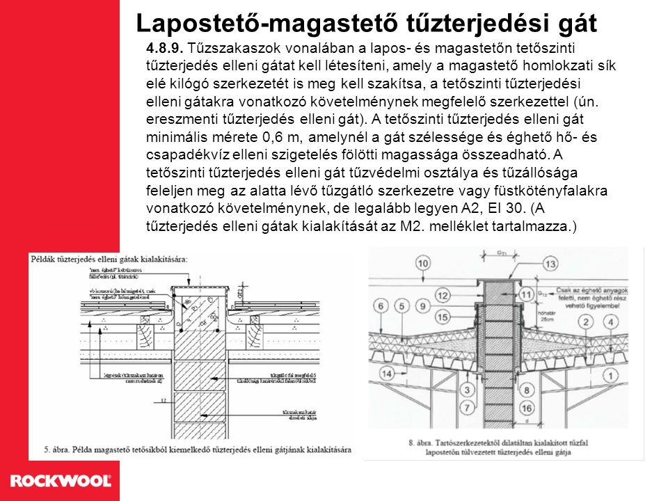 Lapostető-magastető tűzterjedési gát 4.8.9. Tűzszakaszok vonalában a lapos- és magastetőn tetőszinti tűzterjedés elleni gátat kell létesíteni, amely a