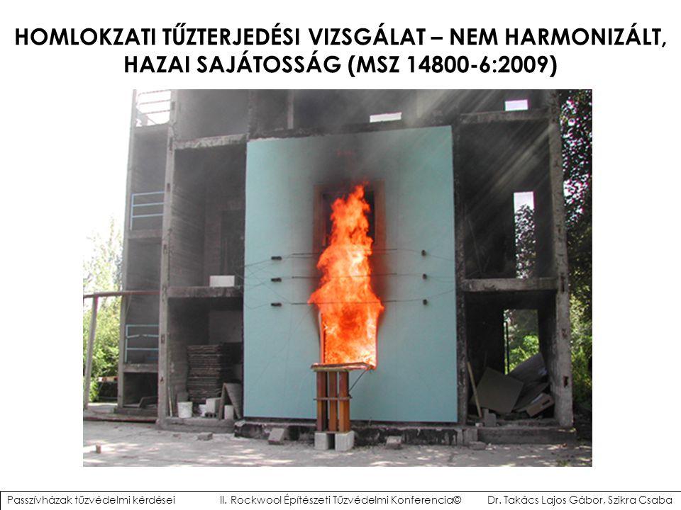 HOMLOKZATI TŰZTERJEDÉSI VIZSGÁLAT – NEM HARMONIZÁLT, HAZAI SAJÁTOSSÁG (MSZ 14800-6:2009) Passzívházak tűzvédelmi kérdései II. Rockwool Építészeti Tűzv