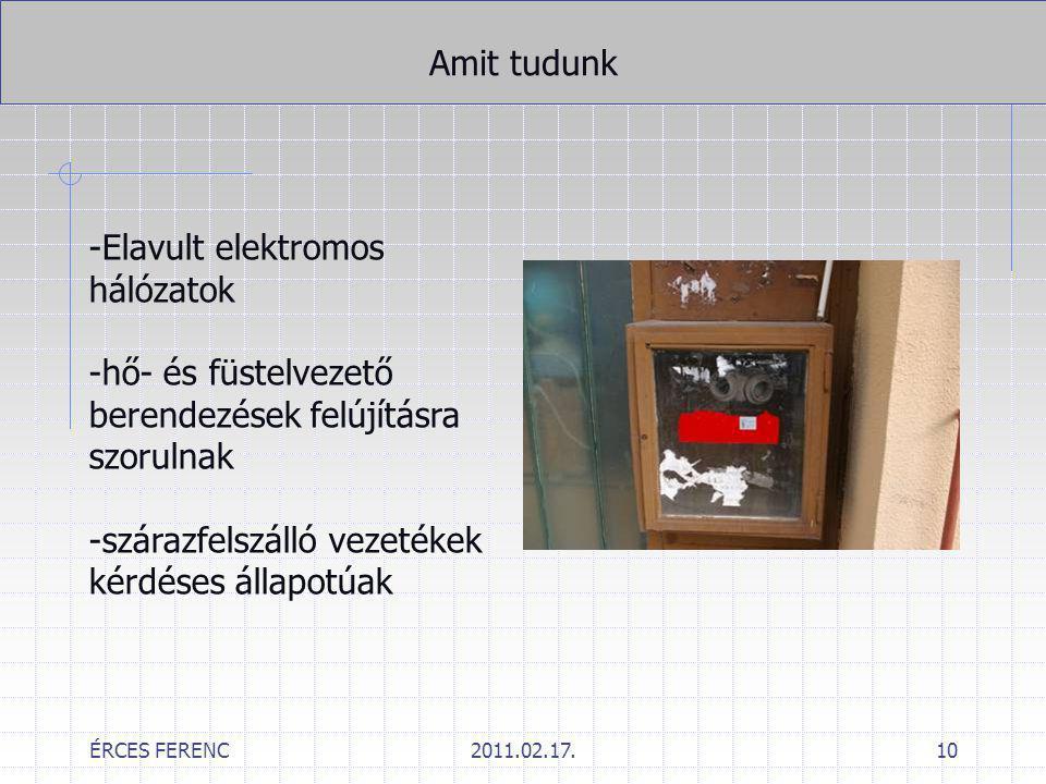 ÉRCES FERENC2011.02.17.10 Amit tudunk -Elavult elektromos hálózatok -hő- és füstelvezető berendezések felújításra szorulnak -szárazfelszálló vezetékek