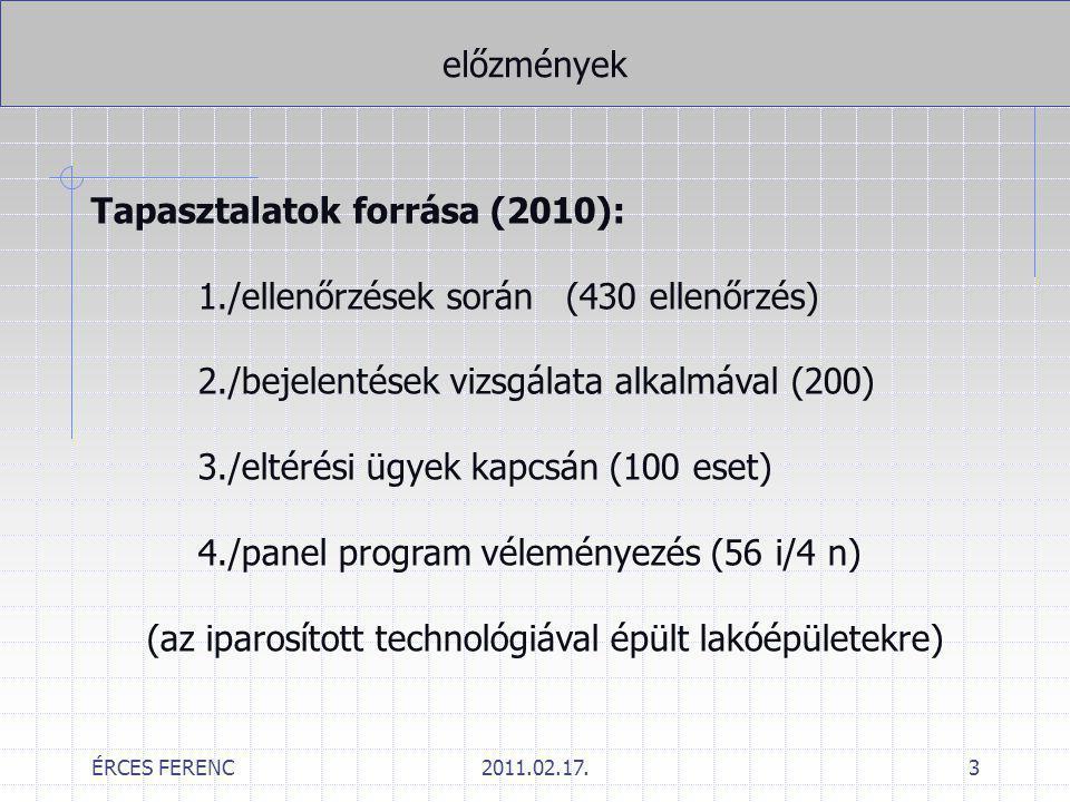 ÉRCES FERENC2011.02.17.3 előzmények Tapasztalatok forrása (2010): 1./ellenőrzések során (430 ellenőrzés) 2./bejelentések vizsgálata alkalmával (200) 3