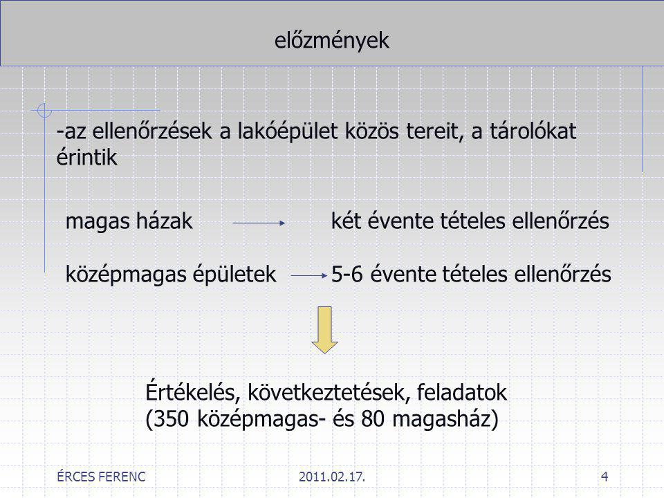 ÉRCES FERENC2011.02.17.15 Ellenőrzések tapasztalatai/beavatkozás feltételei Szárazfelszálló vezetékek -nehezen kezelhető állapot: Ellenőrzésen a hiányosságot rögzíteni, majd intézkedni kell.