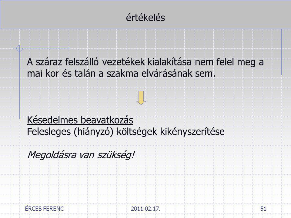 ÉRCES FERENC2011.02.17.51 értékelés A száraz felszálló vezetékek kialakítása nem felel meg a mai kor és talán a szakma elvárásának sem. Késedelmes bea