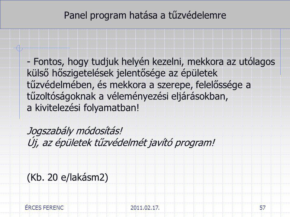 ÉRCES FERENC2011.02.17.57 Panel program hatása a tűzvédelemre - Fontos, hogy tudjuk helyén kezelni, mekkora az utólagos külső hőszigetelések jelentősé