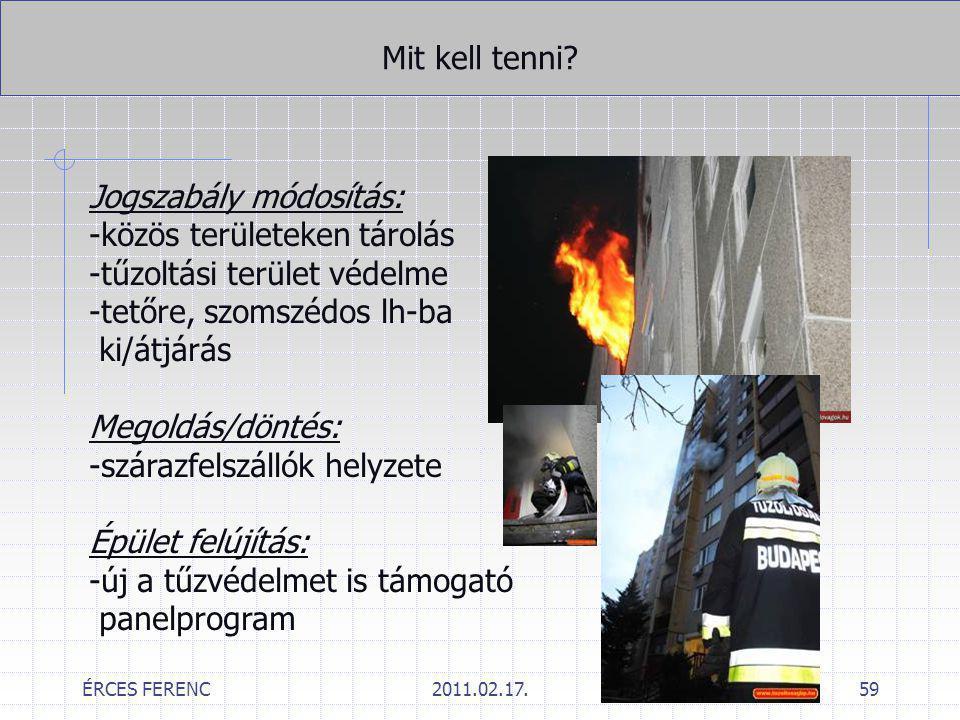 ÉRCES FERENC2011.02.17.59 Mit kell tenni? Jogszabály módosítás: -közös területeken tárolás -tűzoltási terület védelme -tetőre, szomszédos lh-ba ki/átj