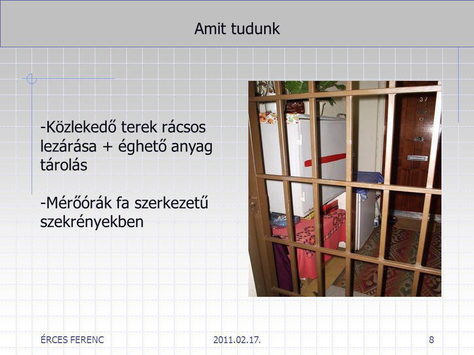 ÉRCES FERENC2011.02.17.8 Amit tudunk -Közlekedő terek rácsos lezárása + éghető anyag tárolás -Mérőórák fa szerkezetű szekrényekben
