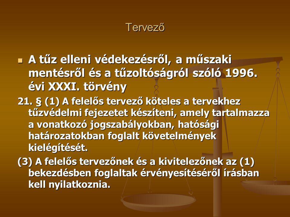 Tervező A tűz elleni védekezésről, a műszaki mentésről és a tűzoltóságról szóló 1996.