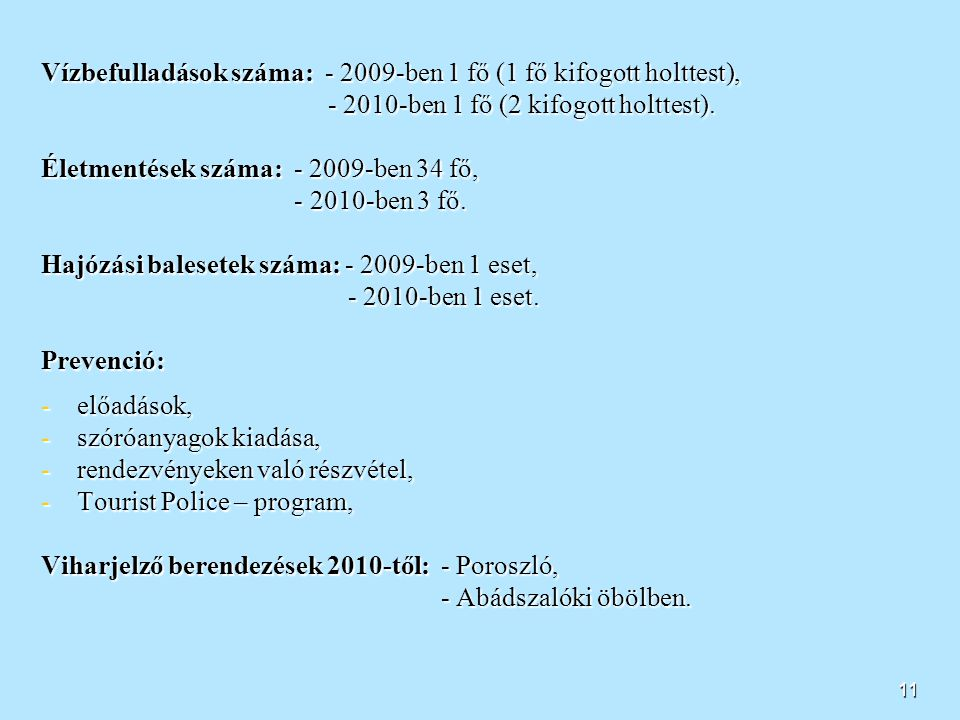 10 Tavaink biztonsága - Tisza-tó - Vízterülete: 127 km 2 További jellemzők: - jelentős idegenforgalom, - kishajóforgalom a jellemző, - védett területe