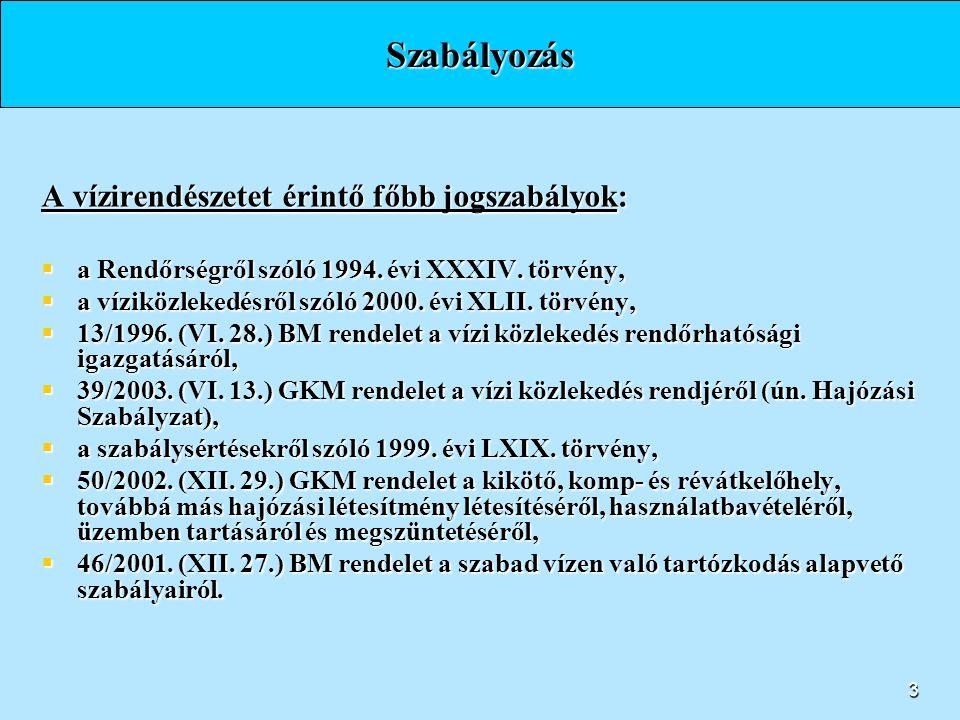2 Belügyminisztérium Irányítási rendszer - a három vízirendészeti rendőrkapitányság - Országos Rendőr-főkapitányság Budapesti Rendőr-főkapitányság Som