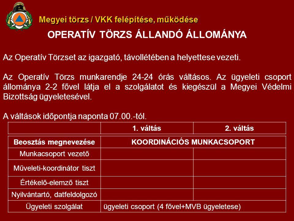 Megyei törzs / VKK felépítése, működése OPERATÍV TÖRZS ÁLLANDÓ ÁLLOMÁNYA Az Operatív Törzset az igazgató, távollétében a helyettese vezeti.