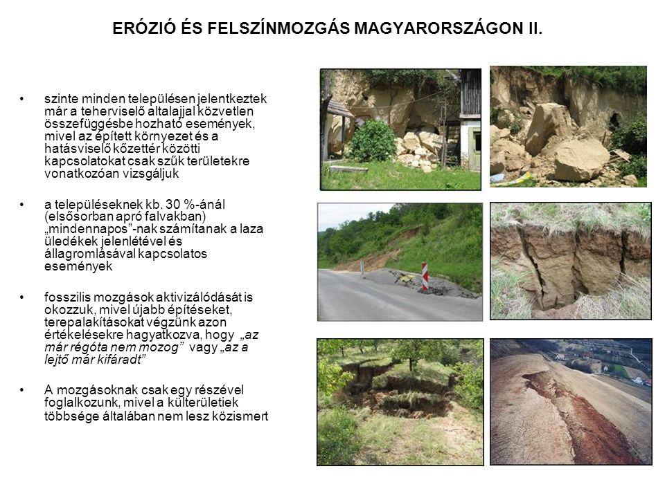 ERÓZIÓ ÉS FELSZÍNMOZGÁS MAGYARORSZÁGON II. szinte minden településen jelentkeztek már a teherviselő altalajjal közvetlen összefüggésbe hozható esemény