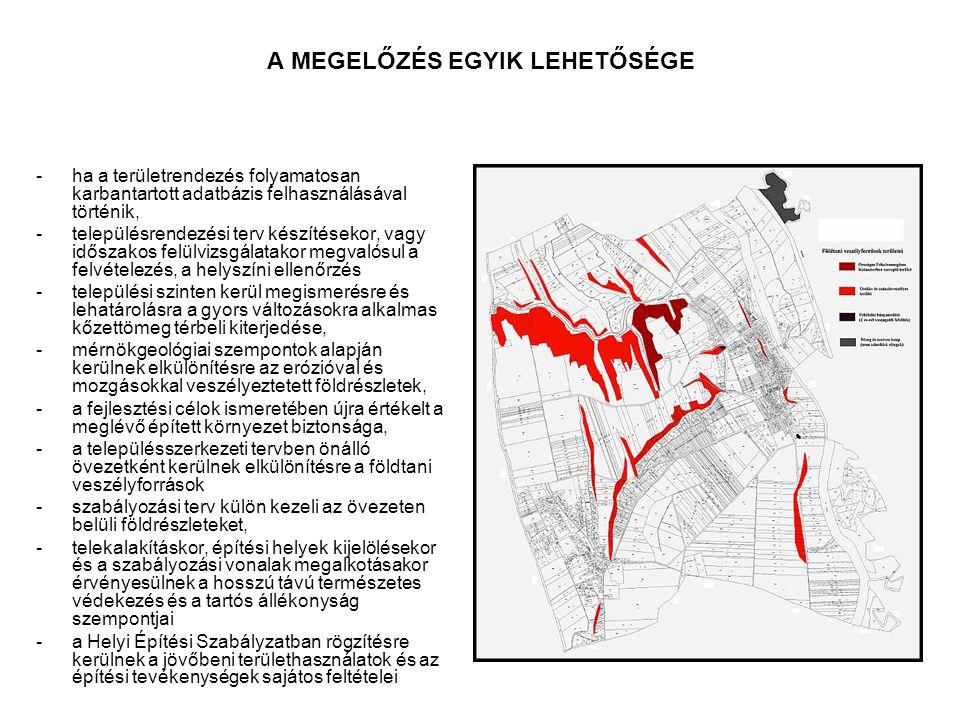 A MEGELŐZÉS EGYIK LEHETŐSÉGE -ha a területrendezés folyamatosan karbantartott adatbázis felhasználásával történik, -településrendezési terv készítések