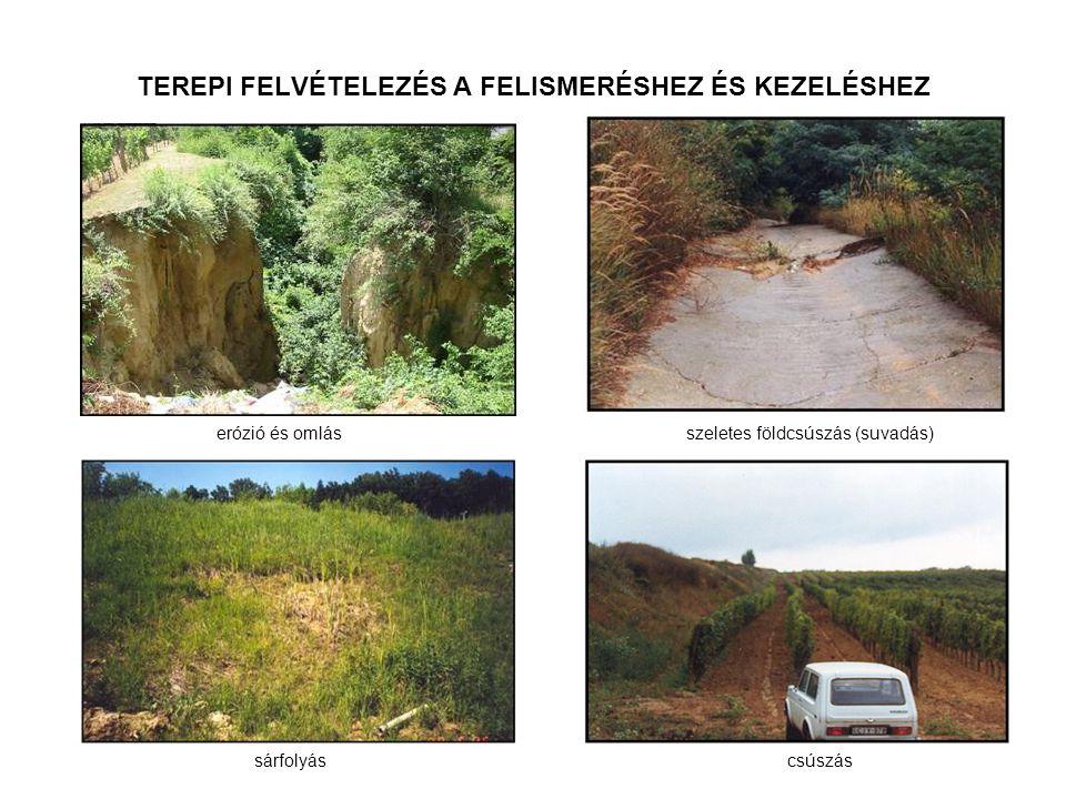 TEREPI FELVÉTELEZÉS A FELISMERÉSHEZ ÉS KEZELÉSHEZ erózió és omlás sárfolyás szeletes földcsúszás (suvadás) csúszás