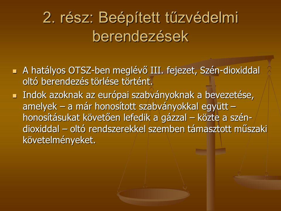 2. rész: Beépített tűzvédelmi berendezések A hatályos OTSZ-ben meglévő III. fejezet, Szén-dioxiddal oltó berendezés törlése történt. A hatályos OTSZ-b