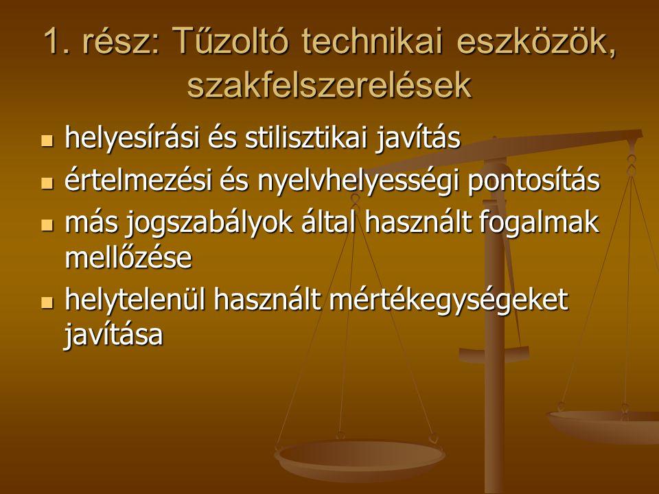 1. rész: Tűzoltó technikai eszközök, szakfelszerelések helyesírási és stilisztikai javítás helyesírási és stilisztikai javítás értelmezési és nyelvhel