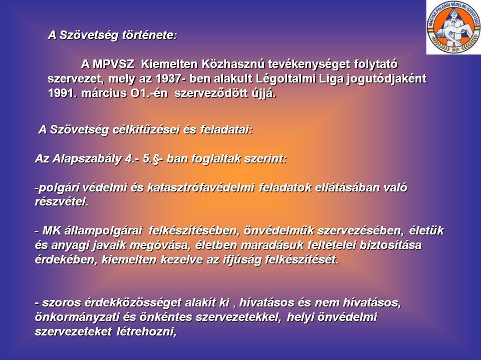 A Szövetség története: A MPVSZ Kiemelten Közhasznú tevékenységet folytató szervezet, mely az 1937- ben alakult Légoltalmi Liga jogutódjaként 1991. már