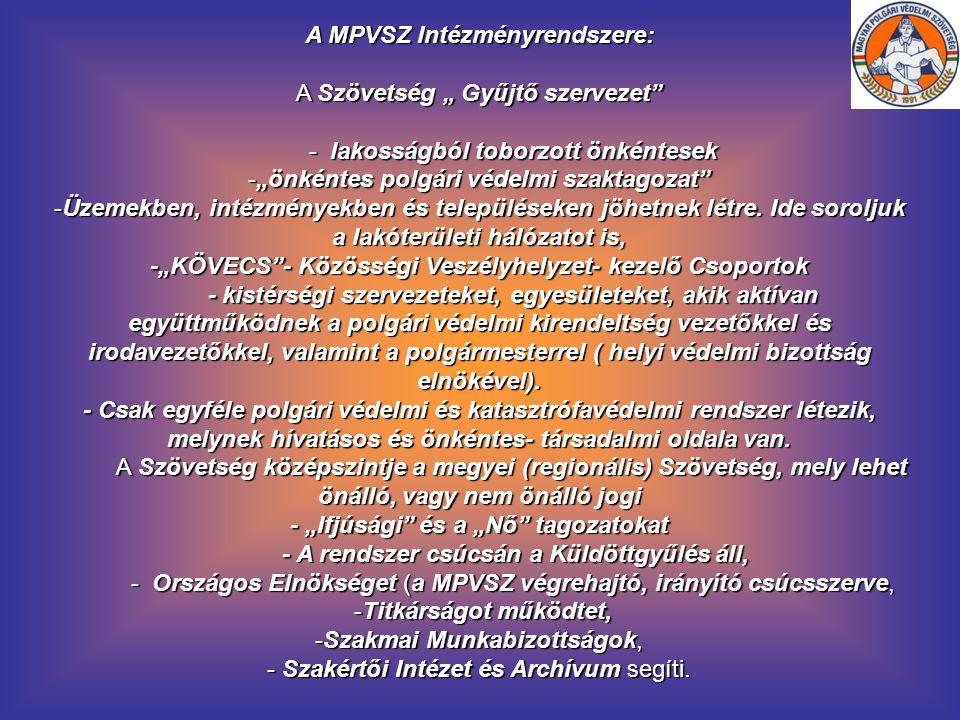 """A MPVSZ Intézményrendszere: A Szövetség """" Gyűjtő szervezet"""" - lakosságból toborzott önkéntesek - lakosságból toborzott önkéntesek -""""önkéntes polgári v"""