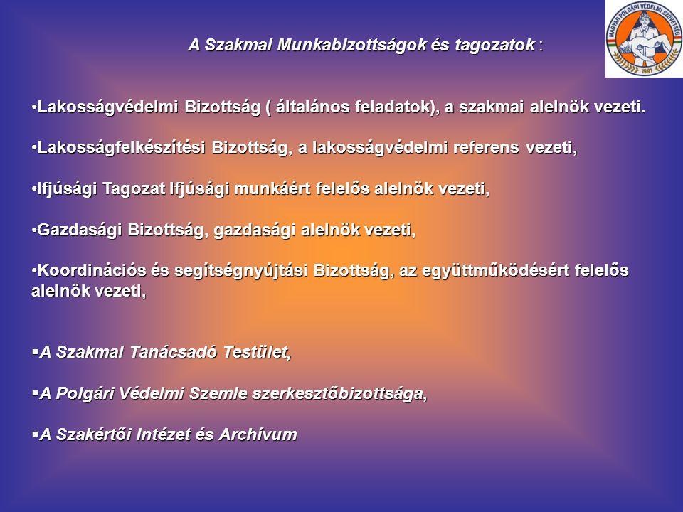 A Szakmai Munkabizottságok és tagozatok : Lakosságvédelmi Bizottság ( általános feladatok), a szakmai alelnök vezeti.Lakosságvédelmi Bizottság ( által