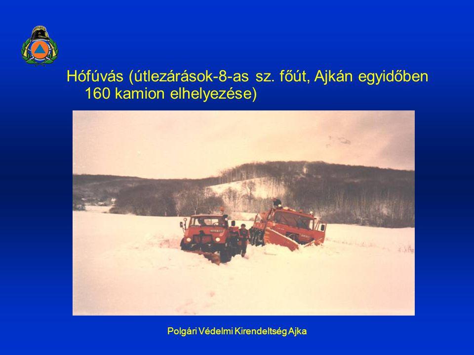 Polgári Védelmi Kirendeltség Ajka Hófúvás (útlezárások-8-as sz. főút, Ajkán egyidőben 160 kamion elhelyezése)
