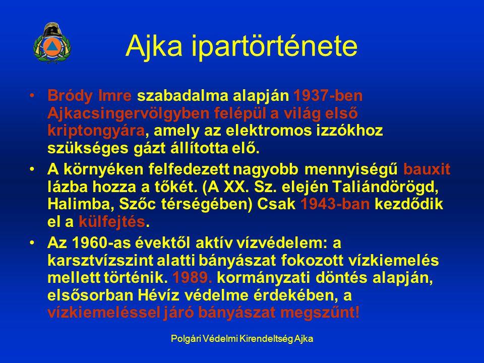 Polgári Védelmi Kirendeltség Ajka Ajka ipartörténete Bródy Imre szabadalma alapján 1937-ben Ajkacsingervölgyben felépül a világ első kriptongyára, ame