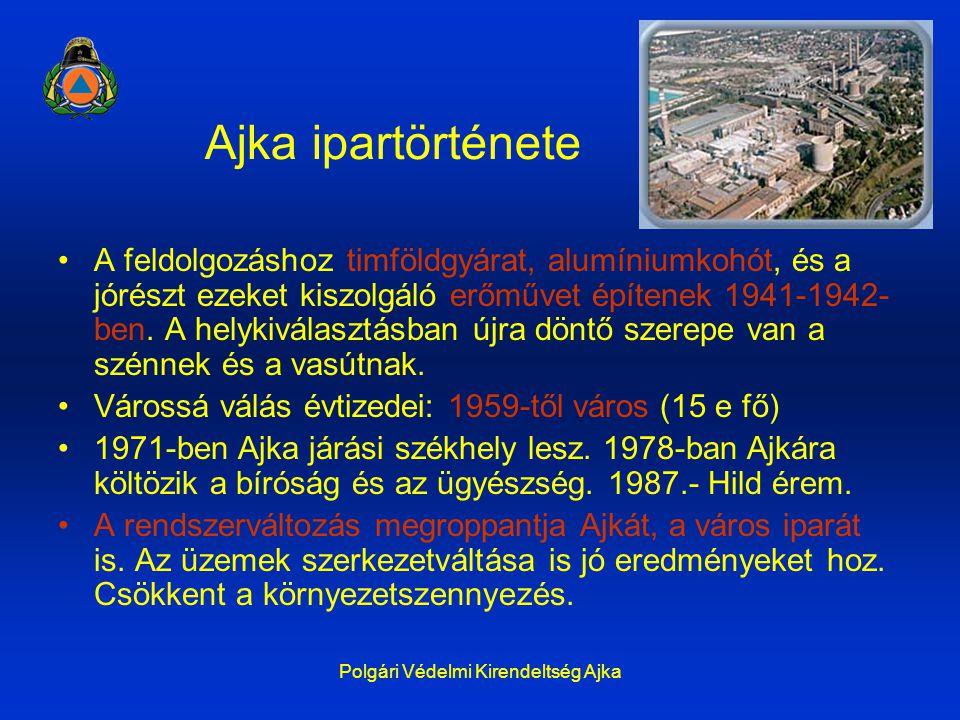 Polgári Védelmi Kirendeltség Ajka Ajka ipartörténete A feldolgozáshoz timföldgyárat, alumíniumkohót, és a jórészt ezeket kiszolgáló erőművet építenek