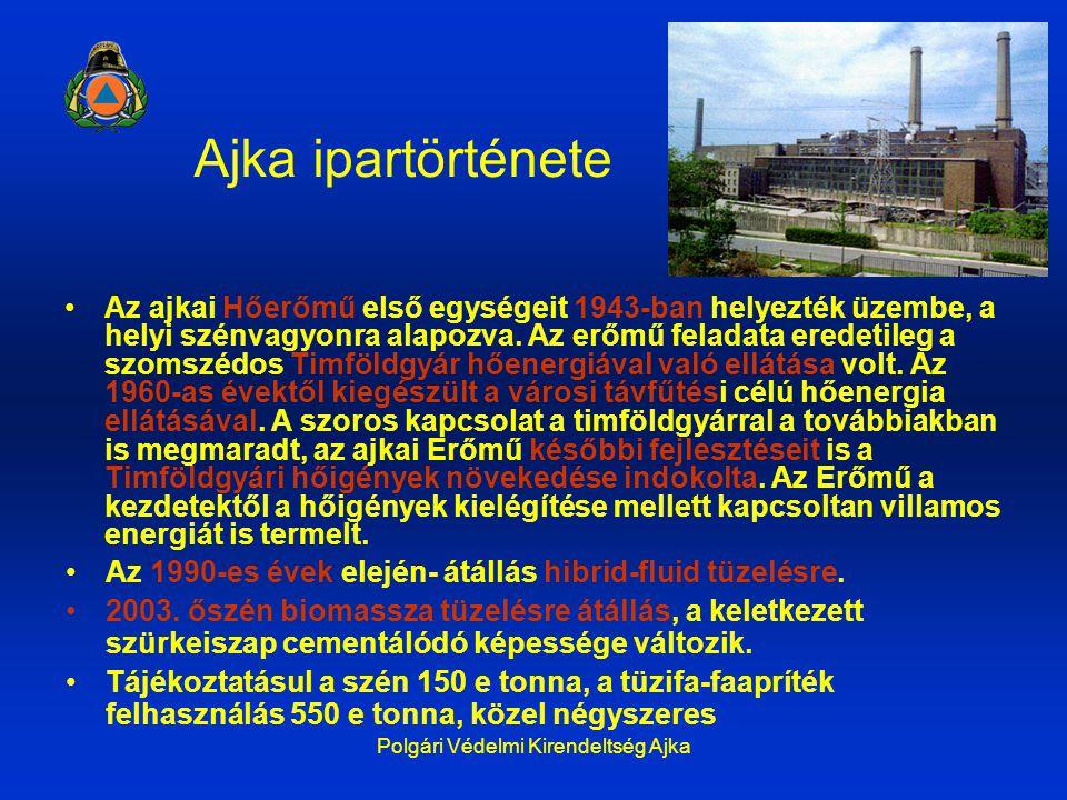 Polgári Védelmi Kirendeltség Ajka Ajka ipartörténete Az ajkai Hőerőmű első egységeit 1943-ban helyezték üzembe, a helyi szénvagyonra alapozva. Az erőm