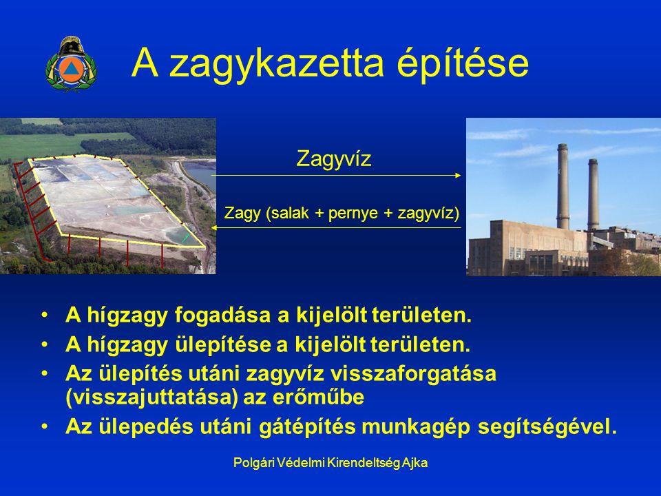 Polgári Védelmi Kirendeltség Ajka A zagykazetta építése Zagyvíz Zagy (salak + pernye + zagyvíz) A hígzagy fogadása a kijelölt területen. A hígzagy üle