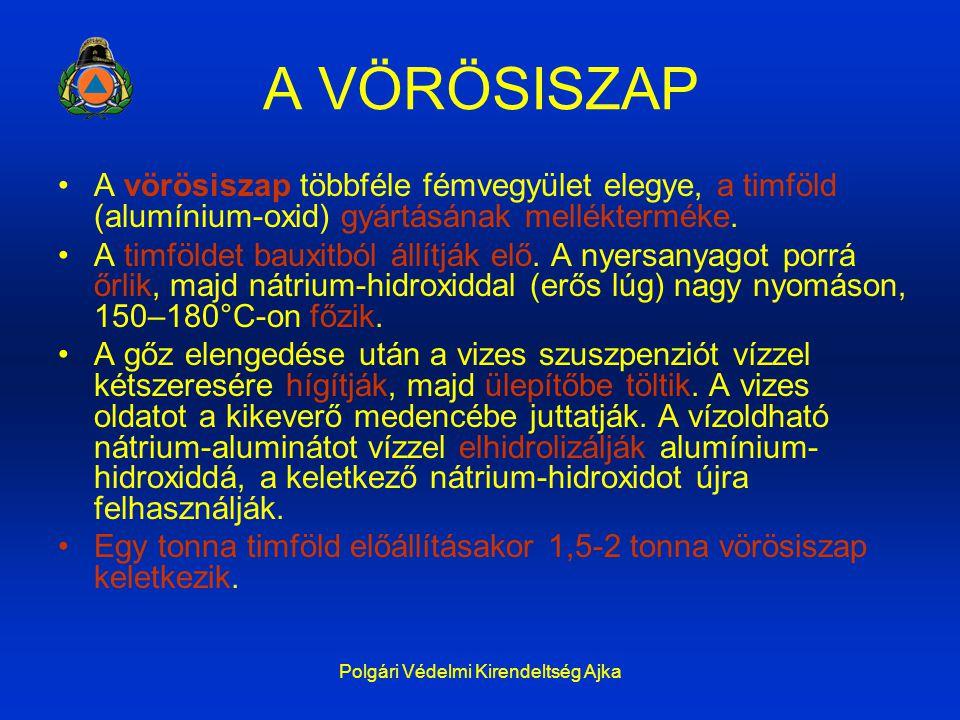Polgári Védelmi Kirendeltség Ajka A VÖRÖSISZAP A vörösiszap többféle fémvegyület elegye, a timföld (alumínium-oxid) gyártásának mellékterméke. A timfö
