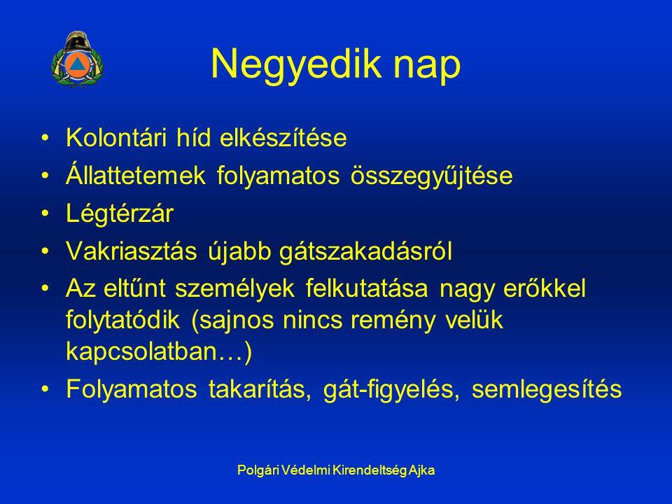 Polgári Védelmi Kirendeltség Ajka Negyedik nap Kolontári híd elkészítése Állattetemek folyamatos összegyűjtése Légtérzár Vakriasztás újabb gátszakadás